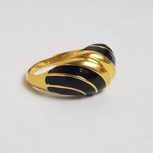 Black Enamel Gold Plate Striped Dome Ring Size 8